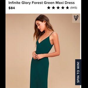 NWT Lulus Forest Green Infinite Glory Maxi Dress